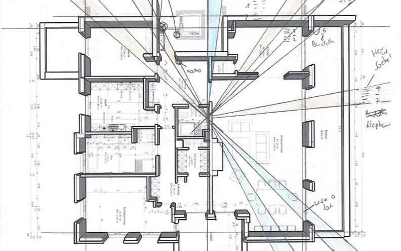 Berechnungen und Zeichnungen einer Feng Shui Analyse